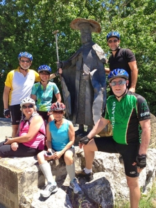 Our group at pilgrim landmark where two caminos merge.